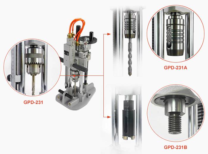 drilling bits are selectable with vacuum cup design hand-held drilling machine