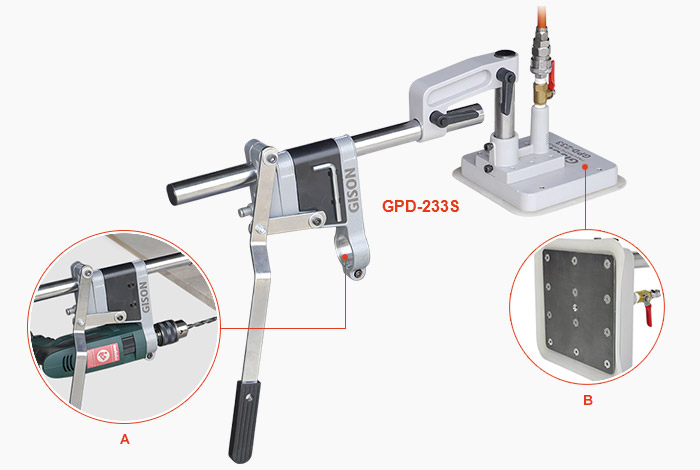 GPD-233S - drill stand with vacuum suction base