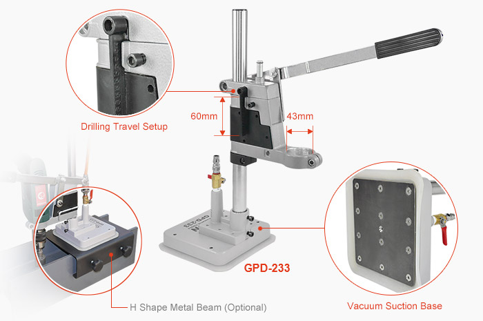 GPD-233 - drill stand with vacuum suction base